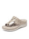 SIKETU Women Casual Solid Color Stitching Howllow Out Comfortable Wedges Heel Hand Made Clip Toe Slippers - Apricot
