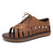 LOSTISY Cross Strap Lace Up Hollow Non Slip Casual Flat Womens Gladiator Sandals - Brown