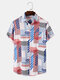 Mens Striped Color Block Lapel Pocket Short Sleeve Shirt - Blue
