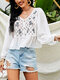 Floral Embroidery Button V-neck Hollow Long Sleeve Women Blouse - White