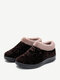 Women Round Toe Casual Dot Print Warm Fluff Lining Comfortable Flat Ankle Cotton Boots - Coffee