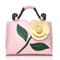 Brenice Women National Style Flower Decoration PU Leather Handbags Crossbody Bag - Pink