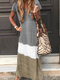 Contrast Color Short Sleeve Casual Maxi Dress For Women - Grey