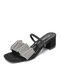 Women Fashion Square Toe Crystals Adjustable Strap High Heeled Mule Sandals - Black Chunky Heel