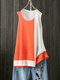 Canottiere casual in patchwork a contrasto colore