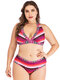 Plus Size Vintage Print Halter Striped Patchwork Sexy Bikinis Swimsuits For Women