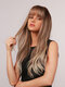 26 Inch Brown Highlight Light Gold Long Curly Hair Thin Bangs Full Head Cover Wig - 26 Inch