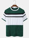 Mens Towelling Patchwork Crew Neck Street Short Sleeve T-Shirts - Green