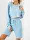 Solid Color Drawstring T-shirt Shorts Casual Sport Set for Women - Blue