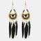 Bohemian Metal Tassel Stripe Beads Earrings Vintage Long Feather Dangle Earrings Women Gift - Black
