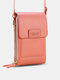 Multi-slots Flap Magnetic Button Stitch Detail Multi-pockets Touch Screen On The Back 7 Inch Phone Bag - Pink