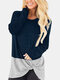 Women Contrast Color Patchwork Long Sleeve Casual T-Shirt - Navy