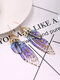 Vintage S925 Sterling Silver Butterfly Long Cicada Wings Gradient Earrings - 5