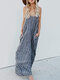 Summer Spaghetti Straps Casual Maxi Dress With Pockets - Blue