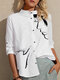 Cute Cat Face Print Button Long Sleeve Casual Blouse for Women - White