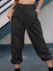 Solid Color Pocket Casual Cargo Pants For Women - Black