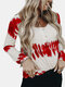 Tie-Dye Button Long Sleeve O-neck Casual T-Shirt For Women - Red