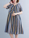 Color Contrast Striped Print Patchwork Plus Size Casual Holiday Dress - Blue