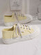 Women Comfy Hard-wearing Casual Preppy Shell Head Wave Pattern Solid Canvas Flats - Yellow