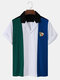 Designer Mens Ball Embroidery Towelling Patchwork Holiday Revere Collar Short Sleeve Shirt - Green