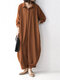 Women Solid Color Pocket Button Long Sleeve Casual Jumpsuit - Brown