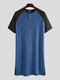 Patchwork Cozy Length Top Design Robes Breathable O Neck Short Sleeve Sleepwear for Men - Blue