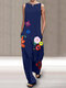 Flowers Print Sleeveless Plus Size Jumpsuit with Pockets - Navy