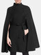 Solid Color Pocket Button Waistband Cloak Casual Coat for Women - Black