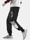 Mens Letter Print Stitching Cotton Drawstring Cuffed Jogger Pants With Pocket - Black
