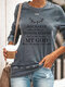 Casual Letters Print Long Sleeve Plus Size T-shirt for Women - Grey