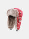 Men Artificial Fur Dacron Christmas Elk Striped Pattern Outdoor Windproof Ear Protection Thicken Warmth Trapper Hat - Red