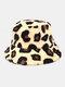 Women & Men Plush Soft Warm Casual All-match Cute Leopard Pattern Bucket Hat - Yellow