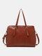 Faux Leather Multi-pocket Large Capacity 13.3 Inch Laptop Bag Two-piece Set Handbag Crossbody Bag Tote - Reddish brown