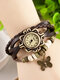10 Colors Vintage Multilayer Women Watch Leather Band Butterfly Pendant Bracelet Watch - Coffee