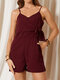 Solid Color Knotted Waist Adjustable Strap Casual Romper with Pocket - Wine Red