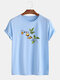 Mens Funny Planet Print Cotton Round Neck Casual Short Sleeve T-Shirts - Blue