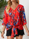 Bohemian Flower Print Tie Front V-neck Plus Size Holiday Blouse - Red#2