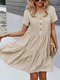Women Solid Color Button Short Sleeve Pleated O-neck Casual Dress - Apricot