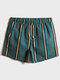 Mens Colorful Striped Quick Drying Drawstring Board Shorts With Pocket - Green