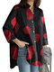 Geometry Print Long Sleeves Casual Loose Blouse With Pockets - Red