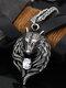 Vintage Trendy Wolf Head Shape Rhinestone Titanium Steel Necklaces - #01