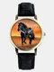 Casual All-Match Denim Strap Men Watch Black Horse Desert Dial Women Quartz Watch - Black