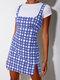 Plaid Print Straps Zip Front Plus Size Short Dress - Blue