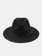 Unisex Woolen Felt Solid Color Rivet Buckle Strap Decoration Thicken Flat Brim Top Hat Fedora Hat - Black