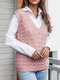 Solid Sleeveless Knitted Crochet Pullover V-neck Sweater - Pink