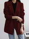 Plaid Printed Long Sleeve Button Casual Blazer Suit Jacket For Women - Black&Red