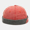 Men & Women Cotton Made-old Washed Patch Hole Patchwork Color Casual Yuppie Brimless Landlord Hat Skull Hat Beanie - Orange
