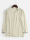 Mens Linen Solid Color 7 Color Casual Long Sleeve Henley Shirts With Pocket - Khaki
