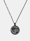 Metal Round Glass Cat Stick Out Head Print Women Necklace - Black