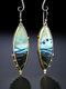 Vintage 925 Silver Plated Women Earrings Artificial Opal Landscape Painting Pendant Earrings - Silver
